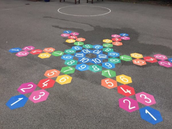 6 way hexagon hopscotch thermoplastic playground marking