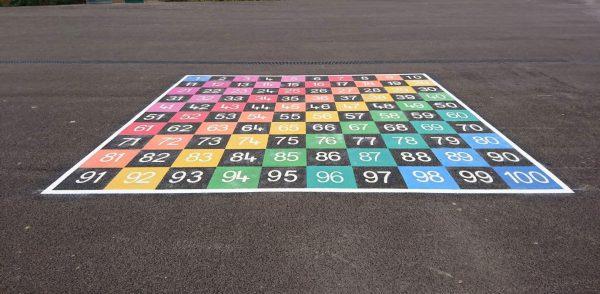 TME008-100LH Number Grid 1-100 Half Solid Large