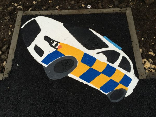 police car thermoplastic playground marking