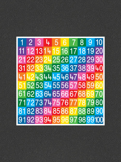 TME008-100SF Number Grid 1-100 Full Solid