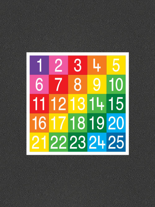 TME008-25SF Number Grid 1-25 Full Solid