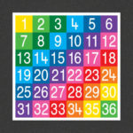 TME008-36SF Number Grid 1-36 Full Solid