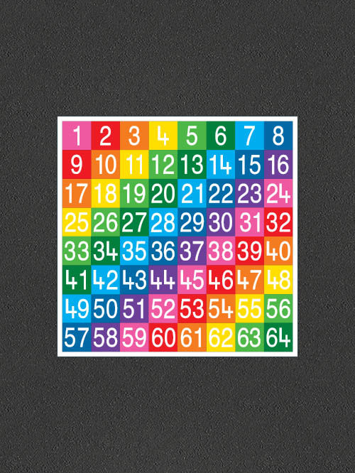 TME008-64SF Number Grid 1-64 Full Solid
