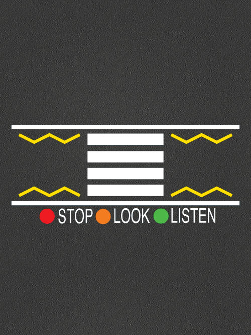 TMR014 Stop Look Listen Zebra Crossing