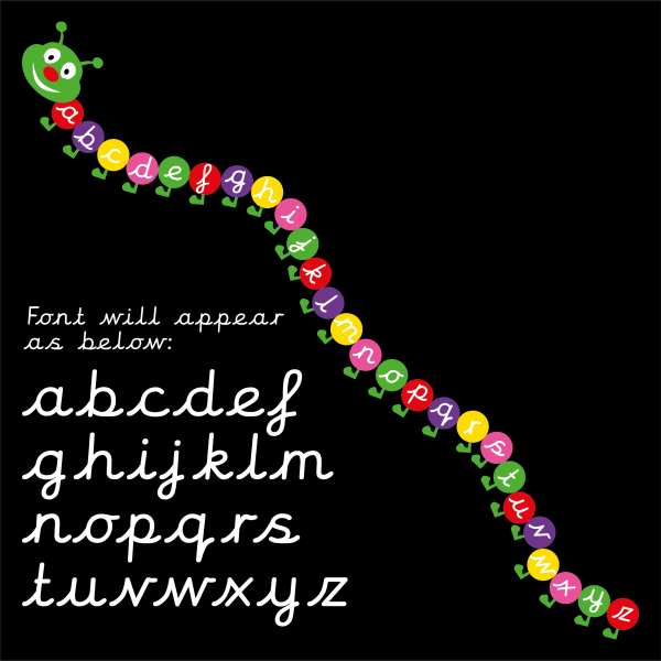caterpillar a z cursive font markings by thermmark
