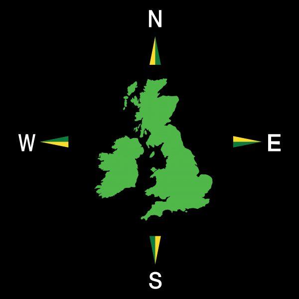 TME001-UK4 4 Point UK Map Compass